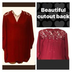 16-Cranberry blouse w/rollup sleeves & cutout lace